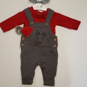 First Impressions Baby Boy Overalls and shirt